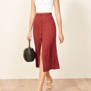 REFORMATION Hermosa Button Up Midi Skirt NWT